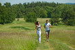 Detalii fotografie Young couple jogging outdoors in spring nature