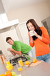 Detalii fotografie Young couple drinking coffee in the kitchen