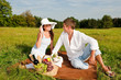 Image details Picnic - Romantic couple in spring nature