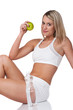 Detalii fotografie Fitness series - Blond woman in white outfit holding apple