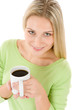 Details der Fotografie Happy blond woman with coffee on white background