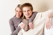 Detalii fotografie Couple in love - happy relax at home together