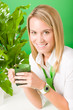 Details der Fotografie Green business office woman smiling plants