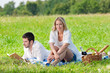 Dettagli della fotografia Picnic - Romantic couple read book meadows