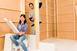 Detalii fotografie Home improvement young couple with blueprints