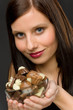 Detalii fotografie Chocolate - portrait young woman hold candy