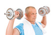 Detalii fotografie Happy mature man working out with dumbbells