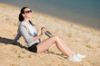 Detalii fotografie Summer sport fit woman relax on beach