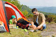 Details der Fotografie Camping young couple with tent summer countryside
