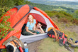 Detalii fotografie Camping young couple sunset tent climbing gear