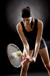 Detalii fotografie Black tennis woman hit ball with racket