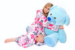 Detalii fotografie beautiful young girl with her teddy
