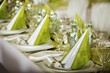 Detalii fotografie festive table setting for wedding valentine or other event  empty place cards on the white festive table