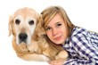Detalii fotografie young girl with pet dog isolated on white