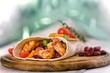 Detalii fotografie delicious mexican wrap with chicken stripes and vegetable