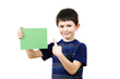 Detalii fotografie small boy with a color plate with space for your text on white background