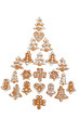 Image details gingerbreads arranged as christmas tree on white background