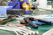 Detalii fotografie electronics equipment assembly workplace with pliers and necessary tools