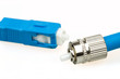 Detalii fotografie blue fiber optic sc connector and fc type connector on white background