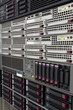 Image details servers stack with hard drives in a datacenter for backup and data storage