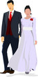 Detalii fotografie bride and groom isolated on white for marriage ceremony design vector illustration
