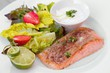 Detalii fotografie salmon steak in white dish with vegetables