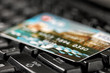 Detalii fotografie close up view on payment card na keyboard