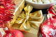 Image details red christmas decoration and golden box with ribbon