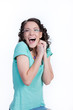 Image details young laughing woman in the glasses on an isolated background