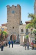 A fényképek részletei taormina italy  july 2 people on piazza ix aprile near chiesa di san giuseppe in taormina sicily on july 2 2015 the church was built between late 1600 and early 1700 in baroque style