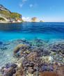 A fényképek részletei underwater and surface split view in the tropics paradise with fish and coral reef above waterline beautiful view on tropical island nusa penida bali indonesia holiday vacation concept