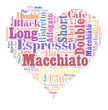 Detalii fotografie index of coffee drinks words cloud collage poster background love coffee concept on heart shape