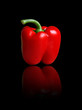 Dettagli della fotografia red sweet pepper on a black background