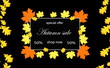 Image details autumn sale message board with 50 discount on black background with white frame and colored leaves