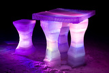 Ice sculpture of a table and chairs
