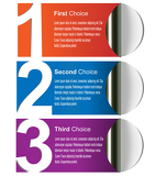 Multicolored choices label for print, web and page layout design