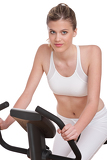 Fitness series - Woman on exercise bike