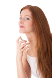 Fotografie Body care series - Young red hair woman applying perfume