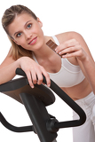 Fitness series - Woman holding piece of chocolate