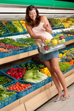 Grocery store shopping -  Woman in summer outfit