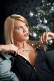 Portrait of blond woman on Christmas