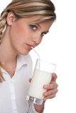 Healthy lifestyle series - Woman drinking milk
