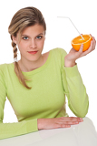 Fényképek Healthy lifestyle series - Woman and orange with straw