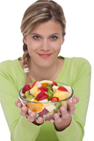 Healthy lifestyle series - Woman holding fruit salad