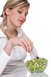 Healthy lifestyle series - Woman with kiwi salad
