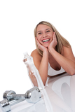 Fitness series - Blond woman with weights and bottle of water