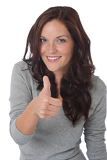 Happy young woman showing thumbs-up
