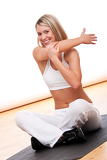 Fitness series - Smiling woman stretching