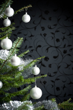 Fotografie Silver decorated Christmas tree with balls and chains