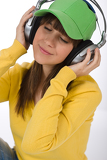 Fotografie Happy female teenager enjoy music